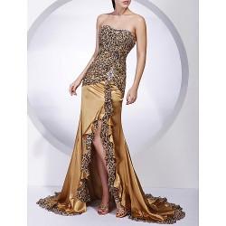 Formal Evening Military Ball Dress Gold Plus Sizes Petite Trumpet Mermaid Strapless Sweep Brush Train Chiffon Charmeuse