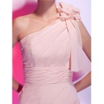 Cocktail Party Dress Pearl Pink Plus Sizes Petite Sheath Column One Shoulder Short Mini Chiffon