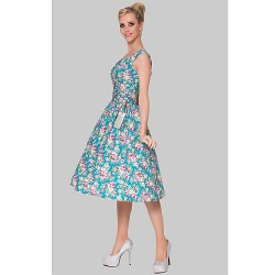 Cocktail Party Dress Print Plus Sizes A Line Scoop Knee Length Cotton