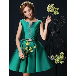 Cocktail Party Dress - Jade Petite Ball Gown V-neck Short/Mini Charmeuse