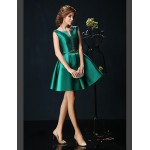 Cocktail Party Dress - Jade Petite Ball Gown V-neck Short/Mini Charmeuse Special Occasion Dresses