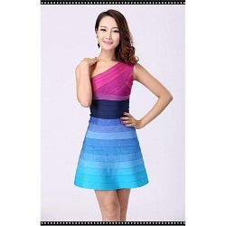 Cocktail Party Dress Multi Color Petite Sheath Column One Shoulder Short Mini Nylon Taffeta