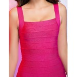 Cocktail Party / Holiday Dress - Fuchsia Petite Sheath/Column Square / Straps Short/Mini Rayon Special Occasion Dresses