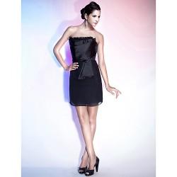 Cocktail Party / Holiday Dress - Black Plus Sizes / Petite Sheath/Column Strapless Short/Mini Chiffon / Satin