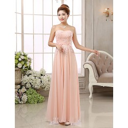 Formal Evening Dress Blushing Pink Ball Gown Strapless Floor Length Chiffon