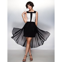 Cocktail Party Dress Multi Color A Line Square Asymmetrical Chiffon