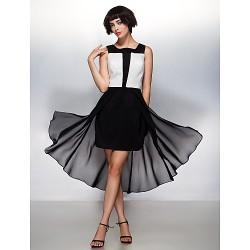 Cocktail Party Dress - Multi-color A-line Square Asymmetrical Chiffon