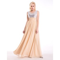 Formal Evening Dress Champagne A Line V Neck Floor Length Chiffon Sequined