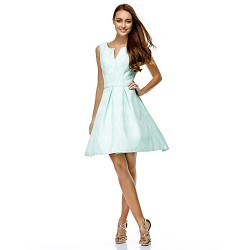 Cocktail Party Dress - Pool A-line V-neck Knee-length Polyester