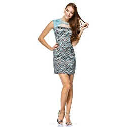 Cocktail Party Dress Print Sheath Column Jewel Short Mini Satin Polyester