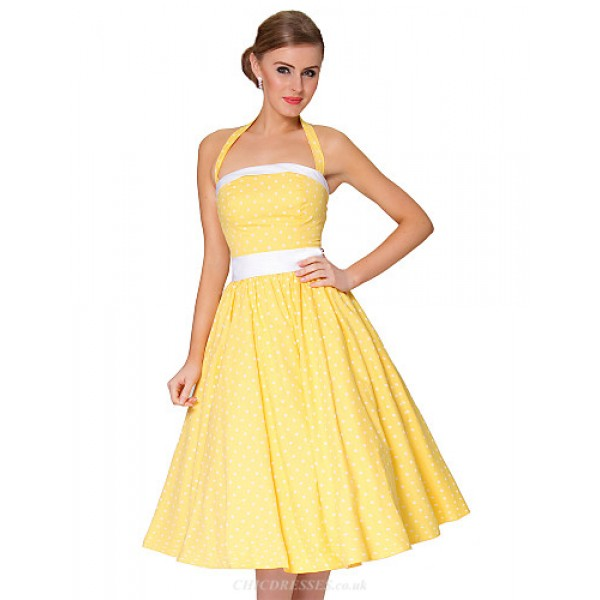 Cocktail Party Dress - Daffodil Plus Sizes A-line Spaghetti Straps Knee-length Cotton Special Occasion Dresses