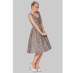 Cocktail Party Dress Print Plus Sizes A Line V Neck Knee Length Cotton