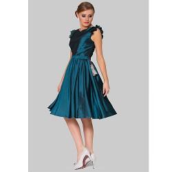Cocktail Party Dress Ink Blue Plus Sizes A Line Jewel Knee Length Taffeta