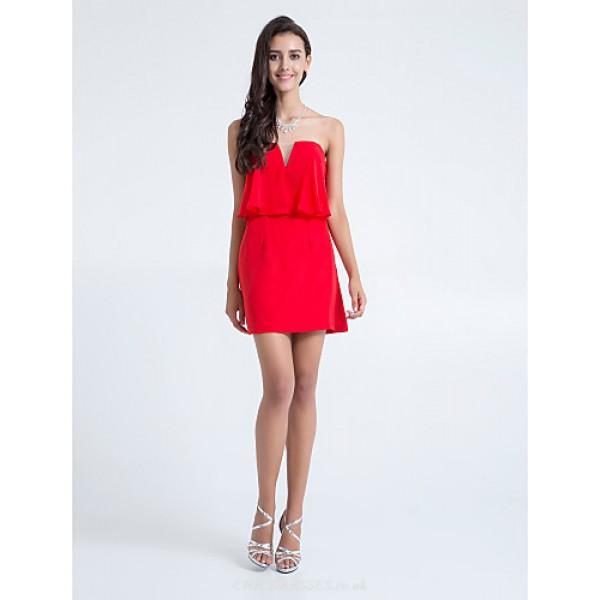 Short/Mini Chiffon Bridesmaid Dress - Ruby Plus Sizes / Petite Sheath/Column Strapless Special Occasion Dresses