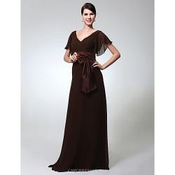 Formal Evening / Military Ball Dress - Chocolate Plus Sizes / Petite Sheath/Column V-neck Floor-length Chiffon