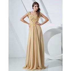 Formal Evening / Military Ball Dress - Gold Plus Sizes / Petite Sheath/Column Off-the-shoulder Floor-length Chiffon