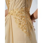 Formal Evening / Military Ball Dress - Gold Plus Sizes / Petite Sheath/Column Off-the-shoulder Floor-length Chiffon Special Occasion Dresses