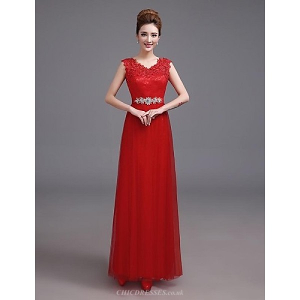 Formal Evening Dress - Ruby Plus Sizes A-line V-neck Floor-length Satin Special Occasion Dresses