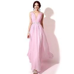 Formal Evening Dress Candy Pink Plus Sizes Petite A Line V Neck Floor Length