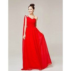 Formal Evening Dress Ruby A Line One Shoulder Floor Length Nylon Taffeta