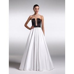 Formal Evening Dress Multi Color Plus Sizes Petite A Line Strapless Floor Length Satin