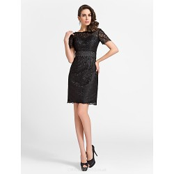 Cocktail Party Dress Black Plus Sizes Petite Sheath Column Jewel Knee Length Lace Satin