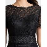 Cocktail Party Dress - Black Plus Sizes / Petite Sheath/Column Jewel Knee-length Lace / Satin Special Occasion Dresses