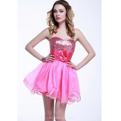 Cocktail Party Dress - Fuchsia Plus Sizes / Petite A-line Sweetheart Short/Mini Tulle