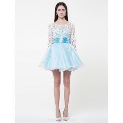 Cocktail Party Dress - Pool Plus Sizes / Petite Ball Gown Jewel Short/Mini Lace / Organza