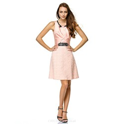 Cocktail Party Dress - Pearl Pink Sheath/Column Scoop Short/Mini Satin