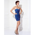 Cocktail Party / Prom Dress - Multi-color Plus Sizes / Petite Sheath/Column Sweetheart Short/Mini Stretch Satin Celebrity Dresses