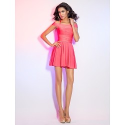 Cocktail Party Holiday Dress Watermelon Petite A Line Halter Off The Shoulder Short Mini Rayon