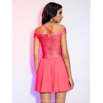 Cocktail Party / Holiday Dress - Watermelon Petite A-line Halter / Off-the-shoulder Short/Mini Rayon Special Occasion Dresses