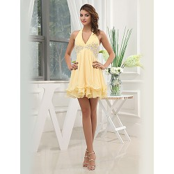 Formal Evening Dress Gold A Line V Neck Short Mini Chiffon