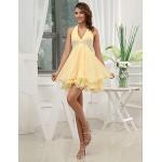 Formal Evening Dress - Gold A-line V-neck Short/Mini Chiffon Special Occasion Dresses