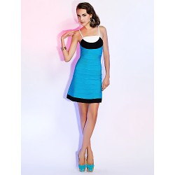 Cocktail Party Holiday Dress Multi Color Petite Sheath Column Spaghetti Straps Short Mini Rayon