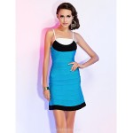 Cocktail Party / Holiday Dress - Multi-color Petite Sheath/Column Spaghetti Straps Short/Mini Rayon Special Occasion Dresses