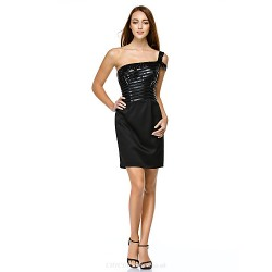 Cocktail Party Dress - Black Sheath/Column One Shoulder Short/Mini Satin