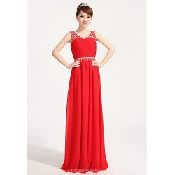 Formal Evening Dress - Ruby / Royal Blue Plus Sizes A-line Scoop Floor-length Chiffon