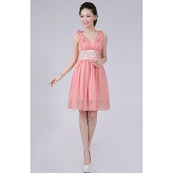 Short Mini Bridesmaid Dress Watermelon A Line Princess Straps