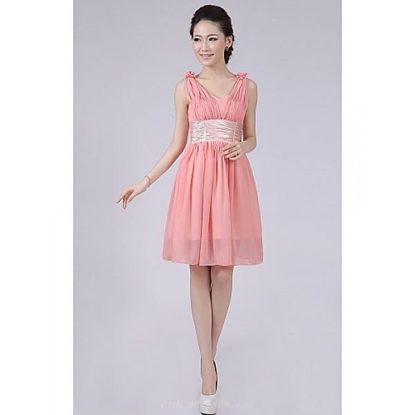 Short/Mini Bridesmaid Dress - Watermelon A-line / Princess Straps Special Occasion Dresses