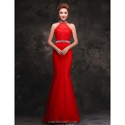 Formal Evening Dress Ruby Trumpet Mermaid High Neck Floor Length Lace