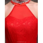 Formal Evening Dress - Ruby Trumpet/Mermaid High Neck Floor-length Lace Special Occasion Dresses