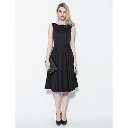 Cocktail Party Dress Black Plus Sizes Petite Princess Jewel Knee Length Cotton
