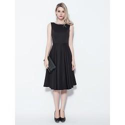 Cocktail Party Dress - Black Plus Sizes / Petite Princess Jewel Knee-length Cotton