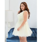 Short/Mini Polyester Bridesmaid Dress - Ivory Ball Gown One Shoulder Special Occasion Dresses