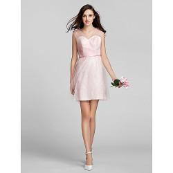 Short/Mini Tulle / Lace Bridesmaid Dress - Blushing Pink Plus Sizes / Petite A-line V-neck