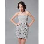 TS Couture Cocktail Party / Graduation / Holiday / Wedding Party Dress - Silver Plus Sizes / Petite Sheath/Column Strapless Short/Mini Chiffon Special Occasion Dresses