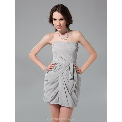 Cocktail Party Graduation Holiday Wedding Party Dress Silver Plus Sizes Petite Sheath Column Strapless Short Mini Chiffon