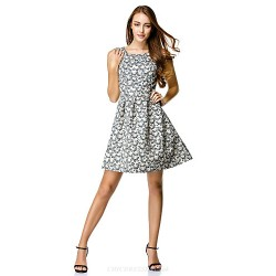 Cocktail Party Dress - Print A-line Scoop Knee-length Polyester